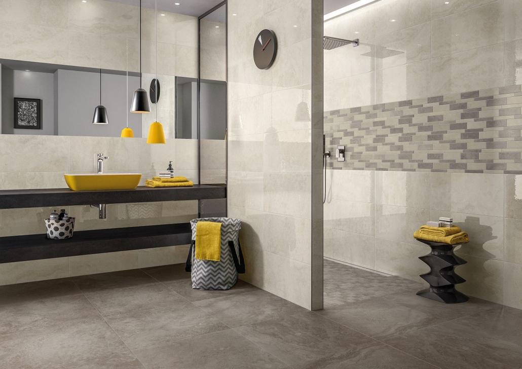 Modernes Duschbad mit Fliesen in Naturtönen in großem und kleinen Formaten von Villeroy & Boch auf Boden und an Wand, gelber Aufsatzwaschtisch
